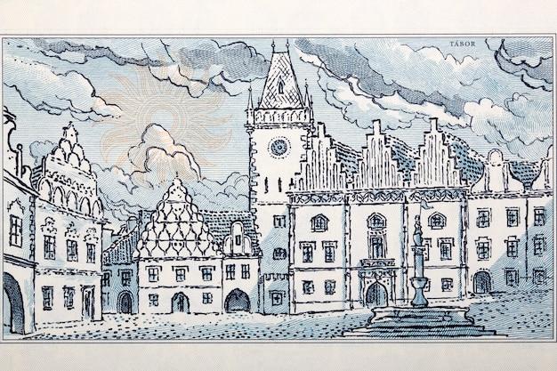 Rynek miasta tabor ze starych czechosłowackich pieniędzy