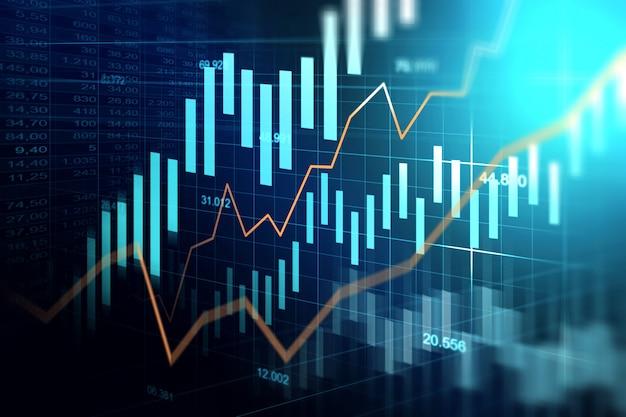 Rynek papierów wartościowych lub rynku walutowego handlu wykres w koncepcji graficznej