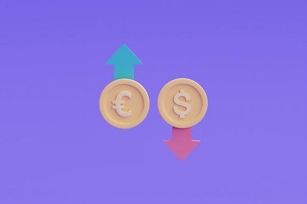 Rynki finansowe i koncepcja gospodarki globalnej, waluta exchange.3d render ilustracji.