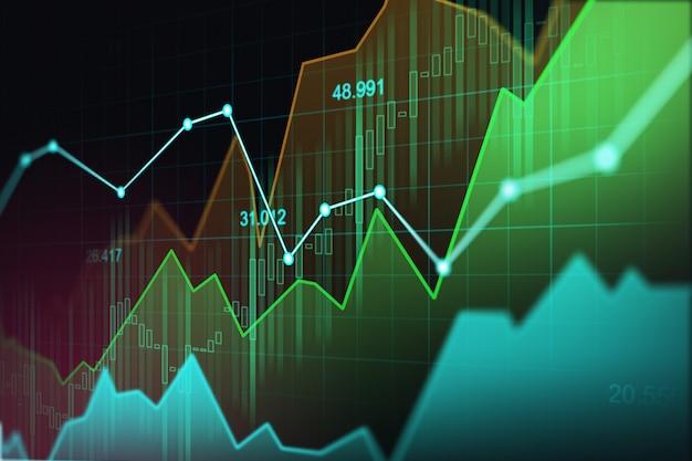 Rynku papierów wartościowych lub rynku walutowego handlu wykres w koncepcji graficznej
