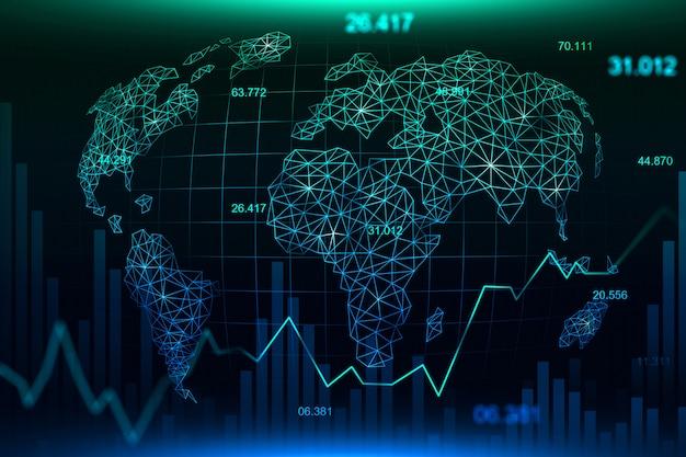 Rynku papierów wartościowych lub rynku walutowego handlu wykresu tło