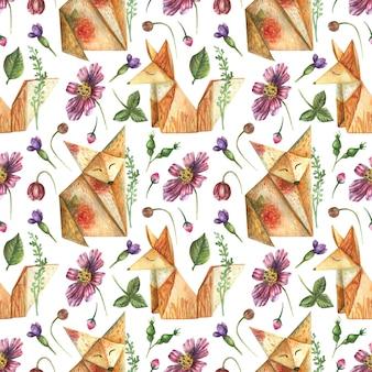 Rysowane tło z elementów jasnych kwiatów ziół zwierząt origami pomarańczowy lis
