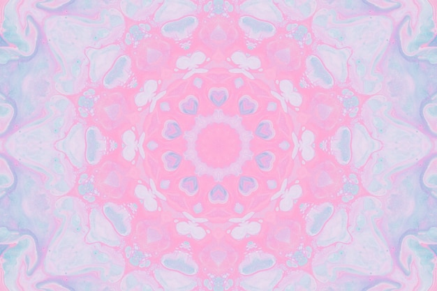 Rysowanie akwarelami, abstrakcyjne obrazy w tle. element projektu, pastelowe kolory różowy i niebieski. geometryczne kwiaty, rozmycie kalejdoskopu