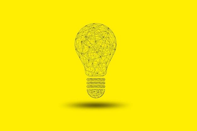 Rysowanie połączenia żarówki lub lampy na żółtym tle, pomysł na kreatywne myślenie i koncepcja innowacji