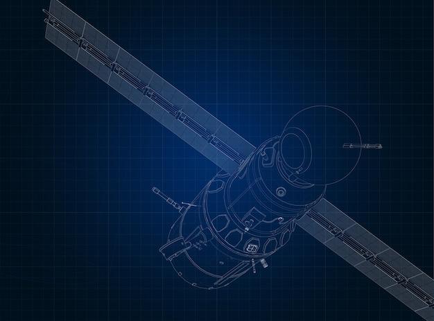 Rysowanie sylwetki statku kosmicznego i jego części na niebieskim papierze milimetrowym