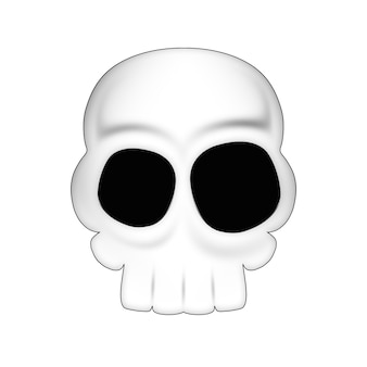 Rysunek czaszki na halloween na białym tle.
