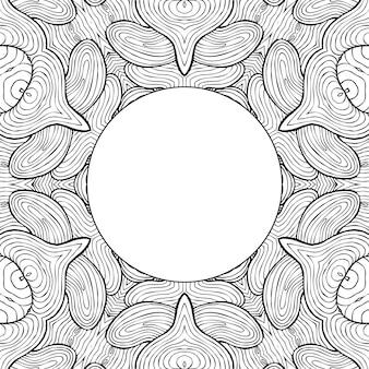 Rysunek kolorowanki strona antystresowy, czarno-biały symetryczny rysunek kwiatowy. monochromatyczne tło kwiatowy. ręcznie rysowane ornament z kwiatami, relaksująca kolorowanka. loki medytacyjny rysunek mandali