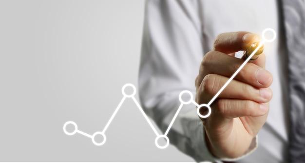 Rysunek ręka wykres, wykres zapas wzrostu