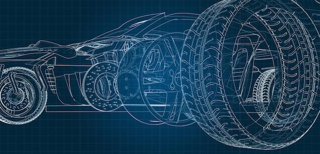 Rysunek samochodu i jego części na niebieskim podłożu milimetrowym