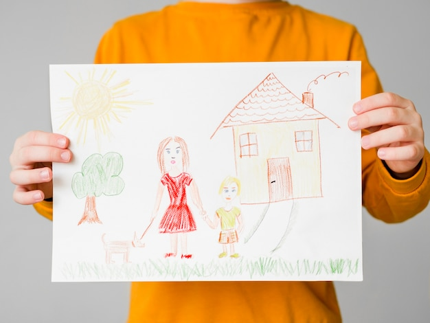 Rysunek samotnej mamy z dzieckiem
