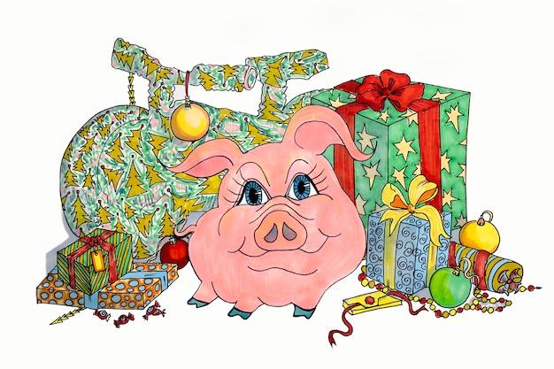 Rysunek świni z prezentami noworocznymi