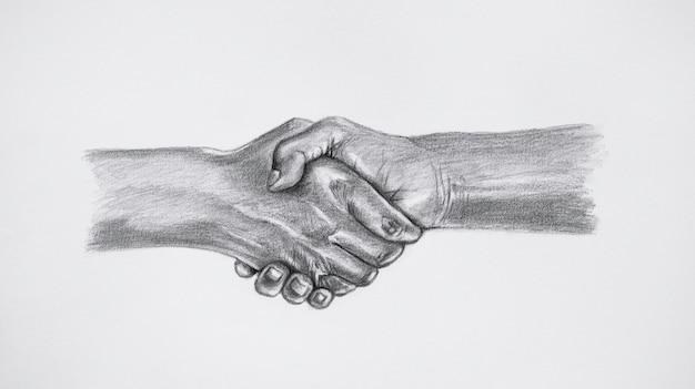 Rysunek szkic dwóch rąk trzymających się na tle białej księgi.