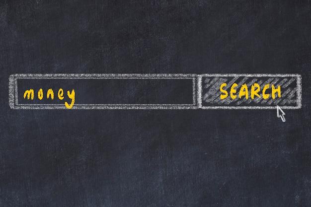 Rysunek tablicy z okna przeglądarki wyszukiwania i napis pieniędzy