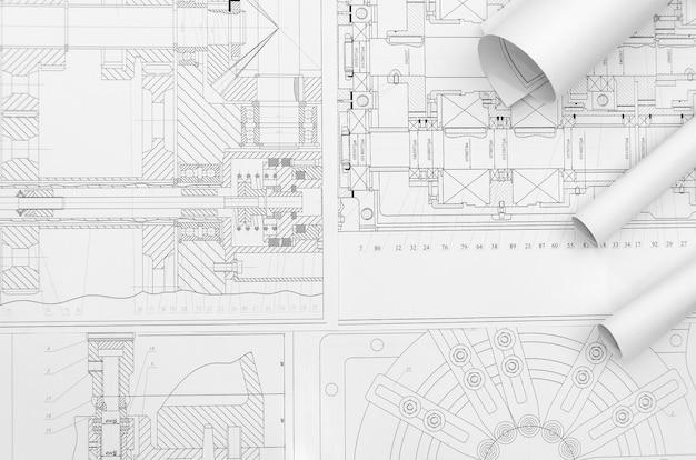 Rysunek techniczny - części maszyn z bliska