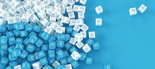 Rysunek z wielu rozproszone kostki z ikonami chmur na niebieskim tle
