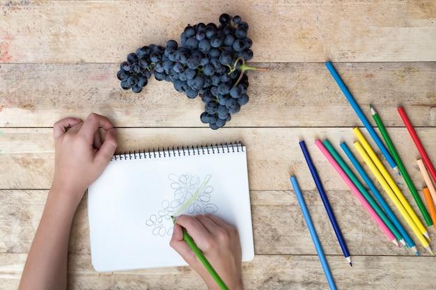 Rysunki dla dzieci, winogrona i kolorowe kredki. drewniany stół. widok z góry