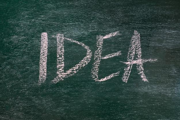 Rysunkowy biznesowy pojęcie pomysł na czerni deski tle.