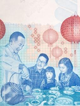 Rytuał picia herbaty z pieniędzy hongkongu