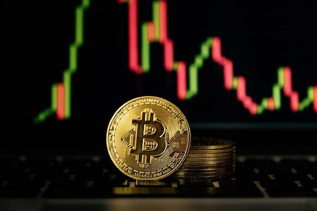 Ryzyko związane z bitcoinami i wykresem tła może wystąpić w przypadku inwestycji lub handlu innowacjami w kryptowalutach