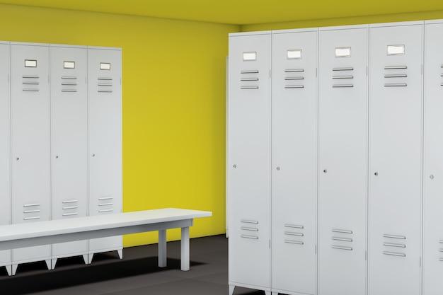 Rząd stalowych szafek z ławką w pokoju