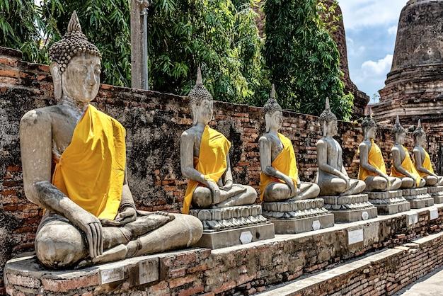Rząd starych posągów buddy pokrytych żółtym materiałem