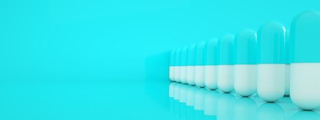 Rząd Tabletek Kapsułek Na Niebieskim Tle, Koncepcja Apteki, Renderowanie 3d, Panoramiczny Obraz Układu Premium Zdjęcia