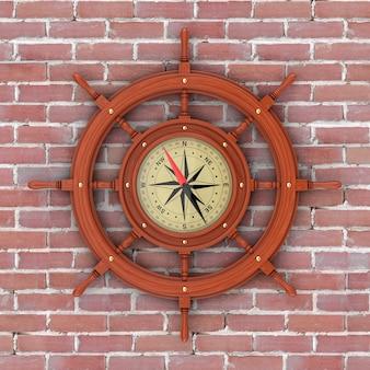 Rzadki kompas w postaci zabytkowej drewnianej kierownicy statku przed ceglaną ścianą. renderowanie 3d