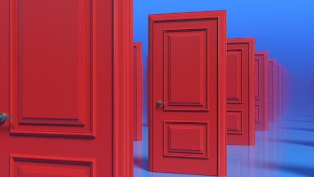 Rzędy czerwonych drewnianych zamkniętych drzwi na niebieskiej ścianie