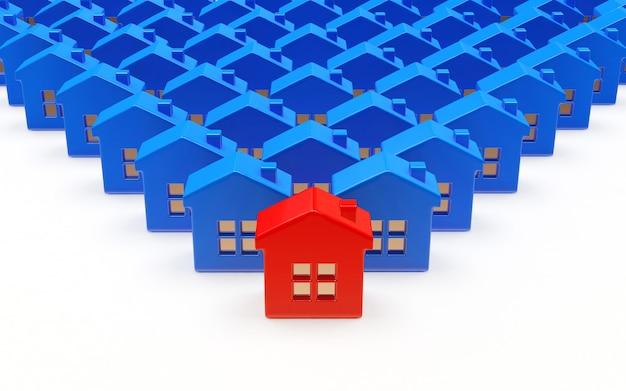 Rzędy niebieskich domów z jednym czerwonym domem
