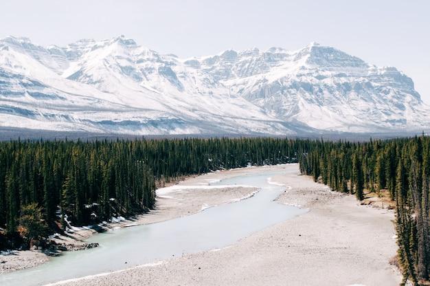 Rzeka otoczona drzewami pod górami pokrytymi zimą śniegiem