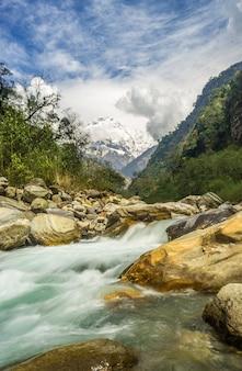 Rzeka otoczona skałami pokrytymi zielenią i śniegiem pod zachmurzonym niebem