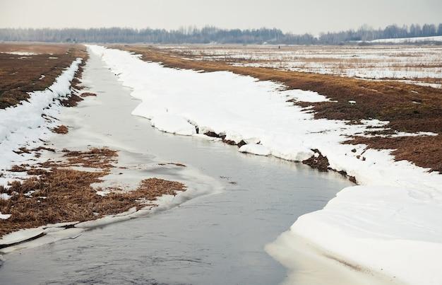 Rzeka wczesną wiosną na brzegu śniegu. śnieg topnieje wraz z pojawieniem się ciepła w pobliżu brzegów rzeki. na wiosnę
