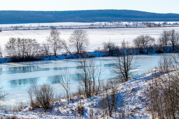 Rzeka z drzewami po obu brzegach zimą przy słonecznej pogodzie