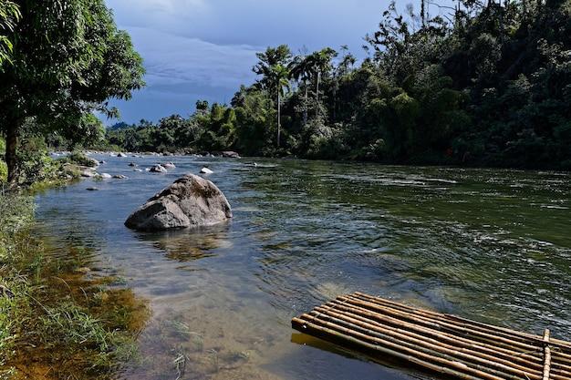 Rzeka z dużą ilością skał i tratwą otoczona pięknymi zielonymi drzewami