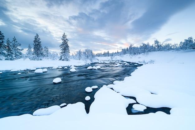 Rzeka ze śniegiem w nim i las w pobliżu pokryty śniegiem zimą w szwecji