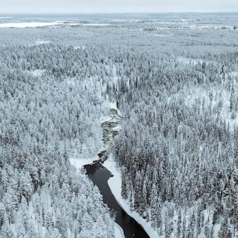 Rzeka zimą w parku narodowym oulanka w finlandii.
