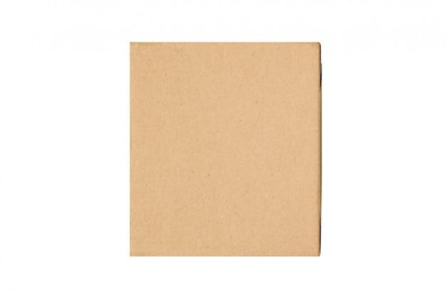 Rzemiosło brązowe kwadratowe pudełko prezentowe izolować na białym tle