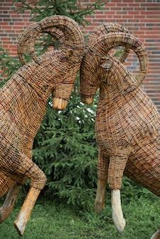 Rzeźba ze słomy w postaci dwóch kóz zderzających się na czołach