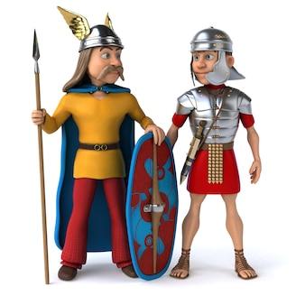 Rzymianin i galii - ilustracja 3d