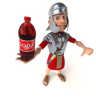 Rzymski żołnierz trzymający butelkę sody