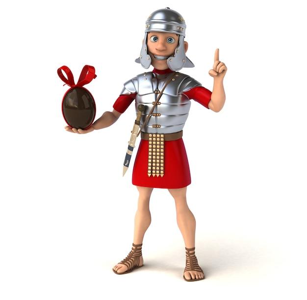Rzymski żołnierz trzymający czekoladowe jajko wielkanocne