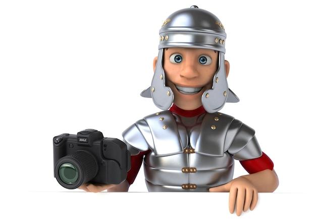 Rzymski żołnierz trzymający profesjonalny aparat
