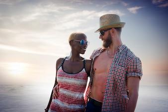 Słodki Plażowy wakacje letni pary miłości pojęcie