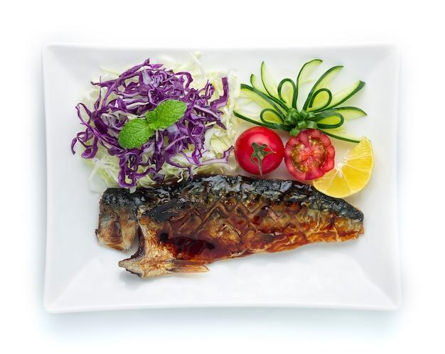 Saba fish grillowany sos teriyaki japoński styl jedzenia