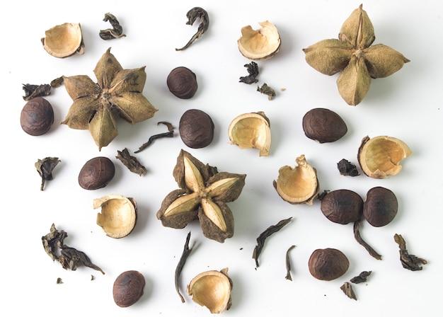 Sacha inchi arachid na białym tle