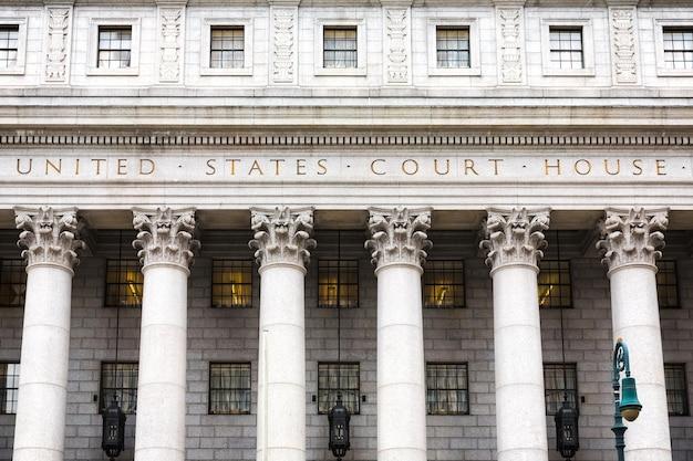 Sąd stanów zjednoczonych. fasada sądu z kolumnami, dolny manhattan, nowy jork