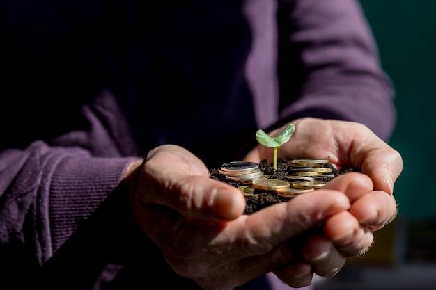 Sadzonki są hodowane na monecie umieszczonej na ziemi, podczas gdy męskie ręce były otoczone. monety są ułożone w stos na ziemi, a sadzonki rosną. koncepcja oszczędzania pieniędzy i wzrostu finansowego.