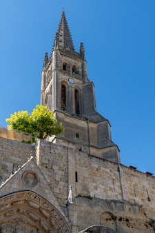 Saint emilion unesco monolithic church street view in france