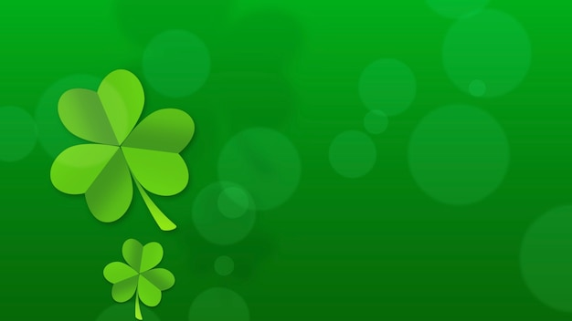 Saint patrick day wakacje tło z zielonymi koniczynkami. luksusowy i elegancki styl ilustracji 3d na wakacje