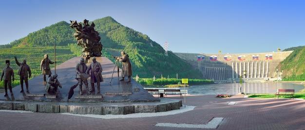 Sajanogorsk syberia rosja09012021 pomnik zdobywców jeniseju